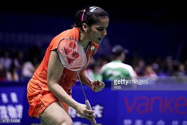 Saina Nehwal of India celebrates during Women's Singles match against Bae Yeon Ju of Korea on day four of 2015 Sudirman Cup BWF World Mixed Team...