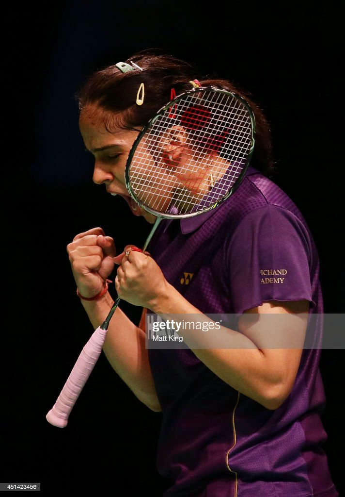 <a gi-track='captionPersonalityLinkClicked' href=/galleries/search?phrase=Saina+Nehwal&family=editorial&specificpeople=729912 ng-click='$event.stopPropagation()'>Saina Nehwal</a> of India celebrates winning the Womens Singles Final against Carolina Marin of Spain during the Australian Badminton Open at Sydney Olympic Park Sports Centre on June 29, 2014 in Sydney, Australia.