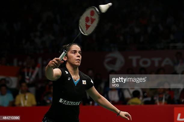Saina Nehwal of India competes against Carolina Marin of Spain in the Women's Singles final match of the 2015 Total BWF World Championship at Istora...