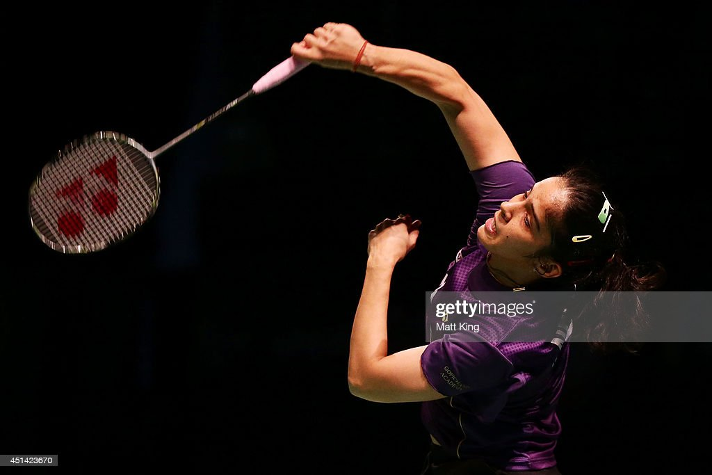 <a gi-track='captionPersonalityLinkClicked' href=/galleries/search?phrase=Saina+Nehwal&family=editorial&specificpeople=729912 ng-click='$event.stopPropagation()'>Saina Nehwal</a> of India competes in the Womens Singles Final against Carolina Marin of Spain during the Australian Badminton Open at Sydney Olympic Park Sports Centre on June 29, 2014 in Sydney, Australia.
