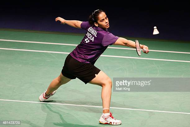 Saina Nehwal of India competes in the Womens Singles Final against Carolina Marin of Spain during the Australian Badminton Open at Sydney Olympic...