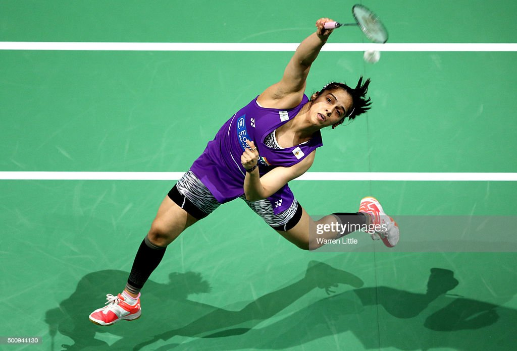 <a gi-track='captionPersonalityLinkClicked' href=/galleries/search?phrase=Saina+Nehwal&family=editorial&specificpeople=729912 ng-click='$event.stopPropagation()'>Saina Nehwal</a> of India in actioin against Tzu Ying Tai of Chainese Taipei in the Women's Singels match during day three of the BWF Dubai World Superseries 2015 Finals at the Hamdan Sports Complex on December 11, 2015 in Dubai, United Arab Emirates.
