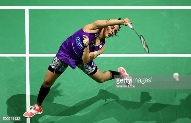 Saina Nehwal of India in actioin against Tzu Ying Tai of Chainese Taipei in the Women's Singels match during day three of the BWF Dubai World...
