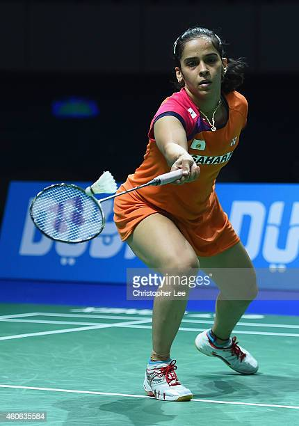 Saina Nehwal of India in action against Sung Ji Hyun of Korea in the Womens Singles during day two of the BWF Destination Dubai World Superseries...