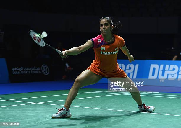 Saina Nehwal of India in action against Tai Tzu Ying of Chinese Taipei in the Womens Singles SemiFinal during the BWF Destination Dubai World...