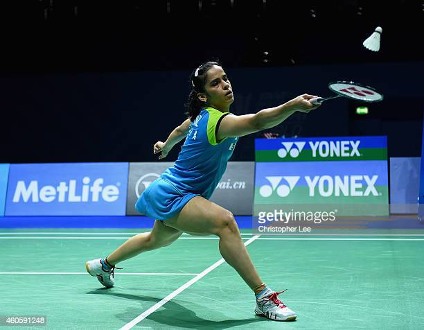 Saina Nehwal of India in action against Wang Shixian of China in the Womens Singles during day one of the BWF Destination Dubai World Superseries...
