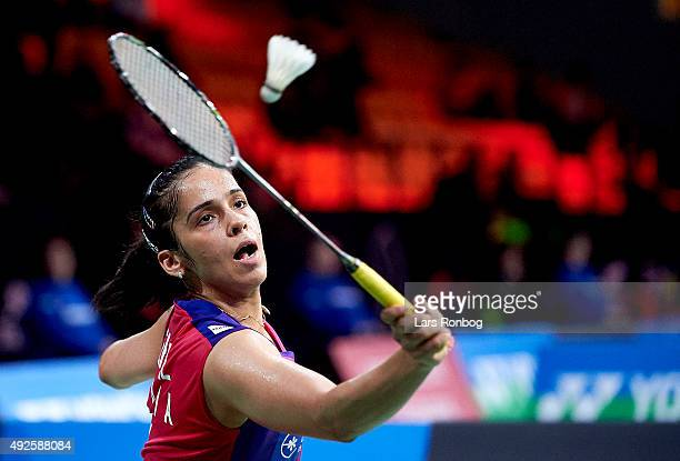 Saina NEHWAL of India in action during Day Two at the MetLife BWF World Superseries Premier Yonex Denmark Open Badminton at Odense Idratshal on...