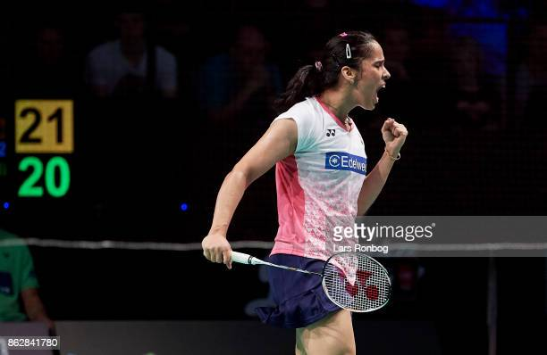 Saina Nehwal of India in action during the day one at the DANISA Denmark Open Badminton tournament at Odense Idratshal on October 18 2017 in Odense...