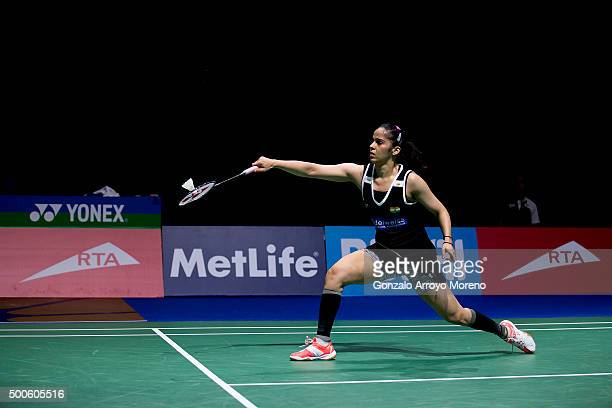 Saina Nehwal of India in action in her women's singles match against Nozomi Okuhara of Japan during day one of the BWF Dubai World Superseries 2015...