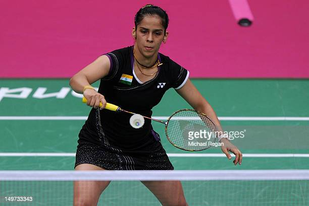 Saina Nehwal of India in action in the Women's Singles Badminton SemiFinal against Yihan Wang of China on Day 7 of the London 2012 Olympic Games at...