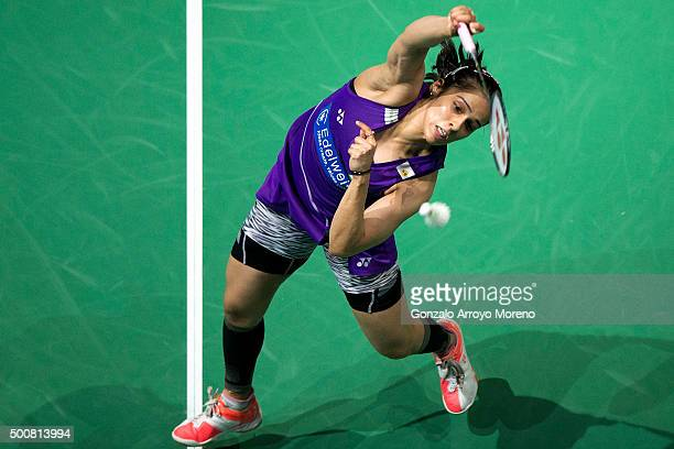 Saina Nehwal of India in action in the Women's Singles match against Carolina Marin of Spain during day two of the BWF Dubai World Superseries 2015...