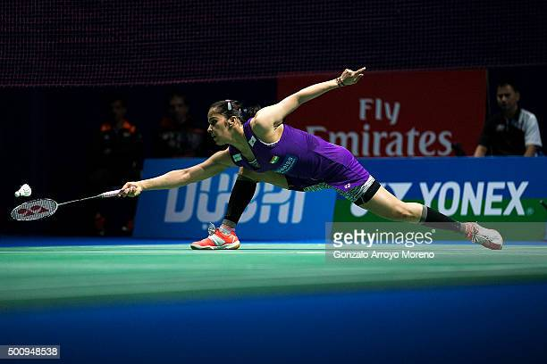 Saina Nehwal of India in action in the Womens Singles match agianst Tai Tzu Ying of Chinese Taipei during day three of the BWF Dubai World...