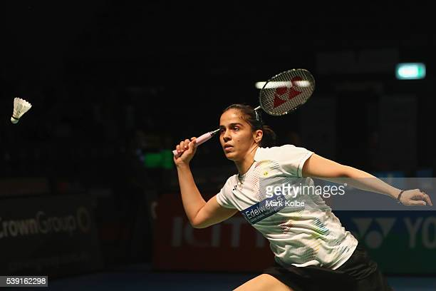 Saina Nehwal of India plays a shot as she competes in 2016 Australian Badminton Open quarterfinal match against Ratchanok Intanon of Thialand at...