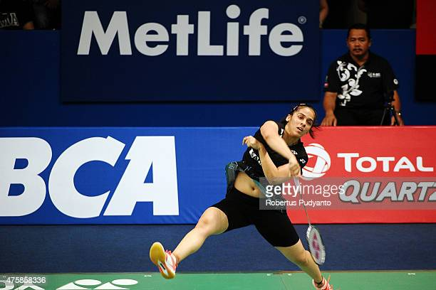 Saina Nehwal of India plays a smash against Hsu Ya Ching of Taipei during the 2015 BCA Indonesia Open Round 2 match on June 4 2015 in Jakarta...