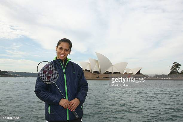 Saina Nehwal of India poses during the Australian Badminton Open 2015 media call at Campbells Cove The Rocks on May 25 2015 in Sydney Australia