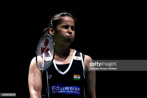 Saina Nehwal of India reacts in her women's single match against Nozomi Okuhara of Japan during day one of the BWF Dubai World Superseries 2015...