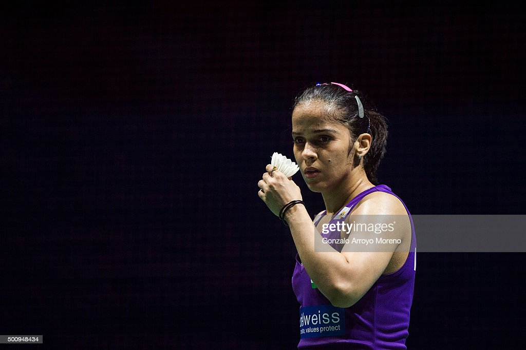 <a gi-track='captionPersonalityLinkClicked' href=/galleries/search?phrase=Saina+Nehwal&family=editorial&specificpeople=729912 ng-click='$event.stopPropagation()'>Saina Nehwal</a> of India reacts in the Women,s Singles match agianst Tai Tzu Ying of Chinese Taipei during day three of the BWF Dubai World Superseries 2015 Finals at the Hamdan Sports Complex on on December 11, 2015 in Dubai, United Arab Emirates.