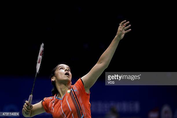 Saina Nehwal of India returns to Bae Yeon Ju of Korea during Women's Singles match on day four of 2015 Sudirman Cup BWF World Mixed Team...