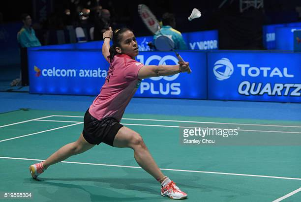 Saina Nehwal of India returns to Bae Yuoon Ju of South Korea during day three of the Women Singles during the BWF World Super Series Badminton...
