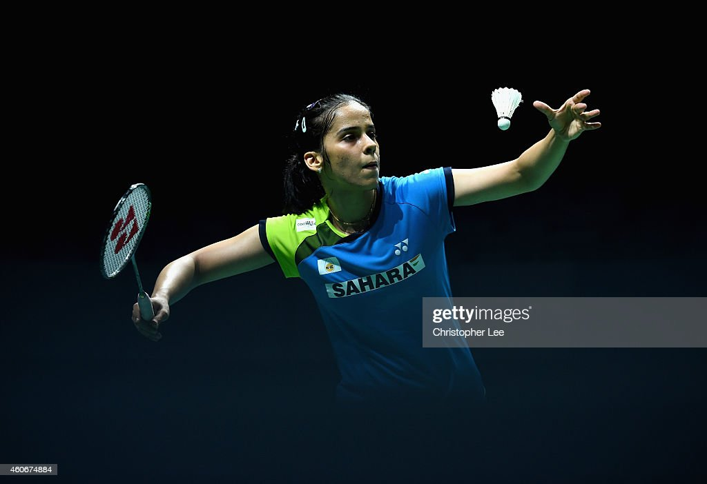 <a gi-track='captionPersonalityLinkClicked' href=/galleries/search?phrase=Saina+Nehwal&family=editorial&specificpeople=729912 ng-click='$event.stopPropagation()'>Saina Nehwal</a> of India serves as she plays against Bae Yeon Ju of Korea in the Womens Singles during the BWF Destination Dubai World Superseries Finals day three at the Hamdan Sports Complex on December 19, 2014 in Dubai, United Arab Emirates.