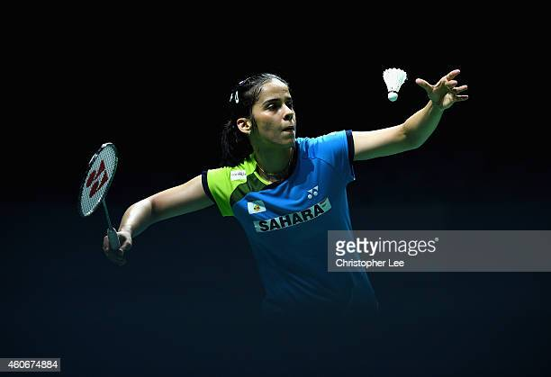 Saina Nehwal of India serves as she plays against Bae Yeon Ju of Korea in the Womens Singles during the BWF Destination Dubai World Superseries...