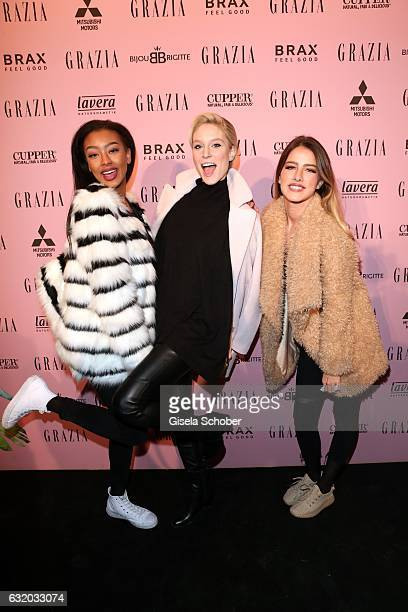 Sainabou Sosseh Kim Hnizdo and Janna Wiese attend the GRAZIA Pop Up Breakfast during the MercedesBenz Fashion Week Berlin A/W 2017 at on January 18...