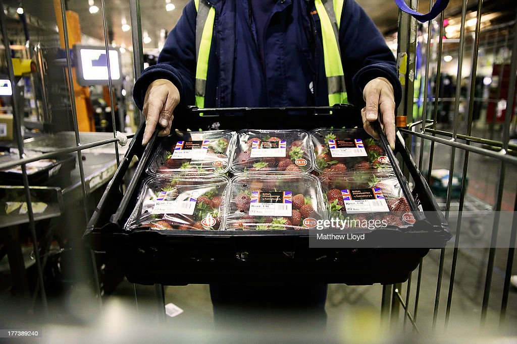 Sainsbury's makes final preparations as 500,000 punnets of Strawberries are expected to sell this weekend at the Sainsbury's infrastructure at Waltham Point Depot on August 22, 2013 in Waltham Abbey, England.
