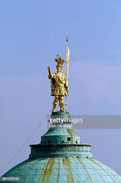 Saint Alexander of Bergamo statue atop the Cathedral dome Citta Alta Bergamo Lombardy Italy