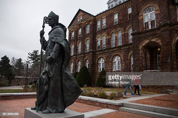 Saint Anselm College where the next democratic debate will take place is seen on December 18 2015 in Manchester New Hampshire Democratic hopefuls...