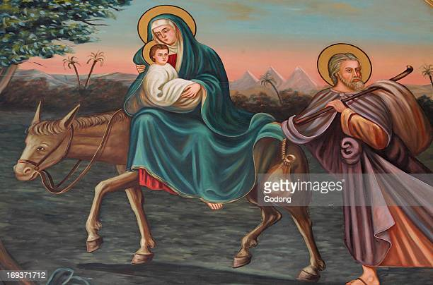 Saint Anthony coptic church painting the flight to Egypt