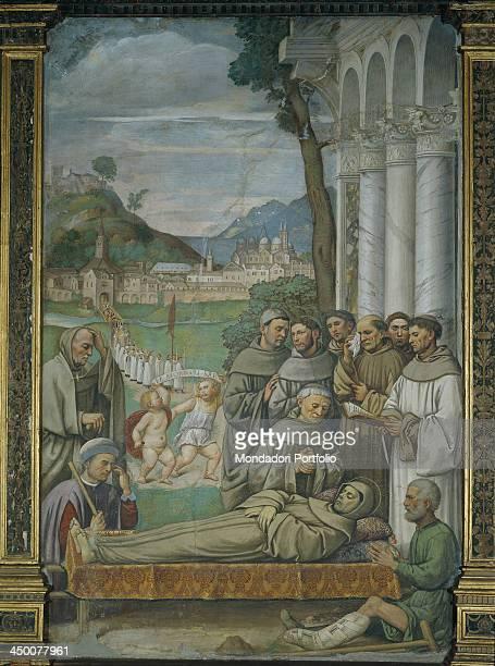 Saint Anthony's death by Girolamo dal Santo 1480 1561 15th 16th Century fresco
