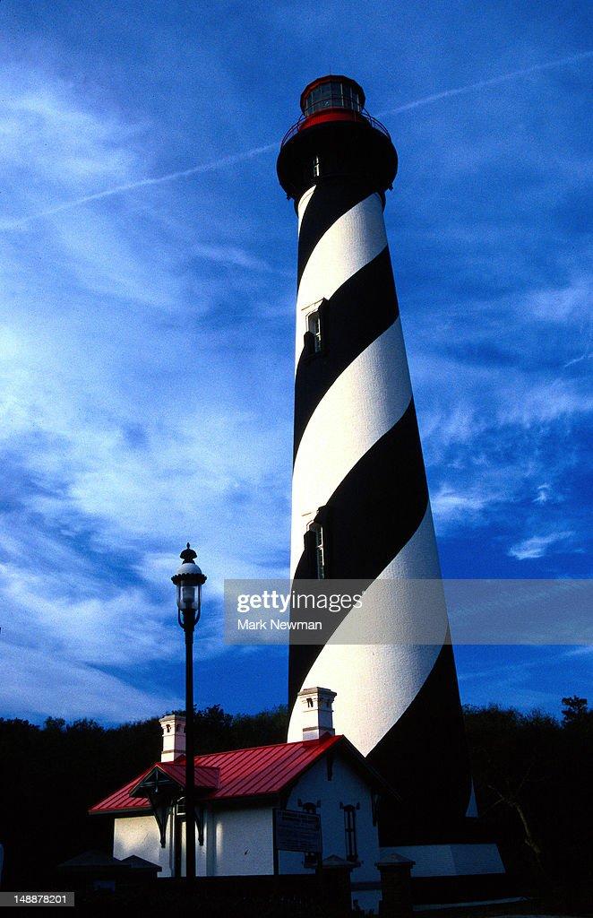 Saint Augustine Lighthouse, spiral stripes up the tower - Saint Augustine, Florida