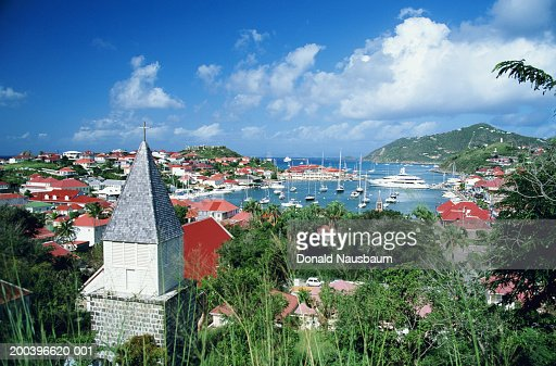 Saint Barthelemy, Gustavia harbour and town, elevated view