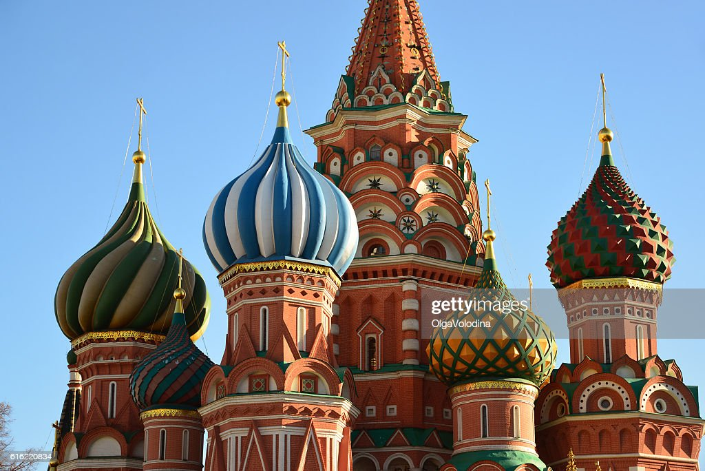 Saint Basil Cathedral on  Red Square in Moscow, Russia : Bildbanksbilder