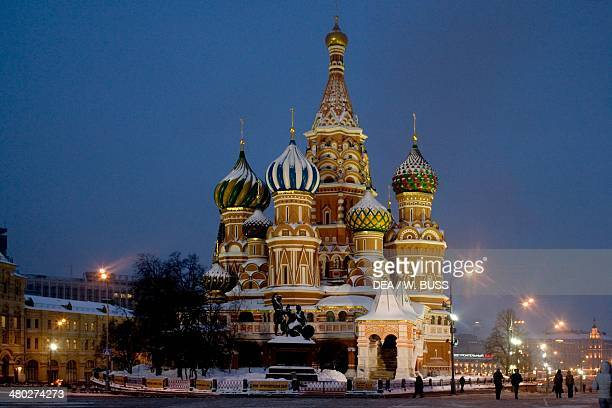 Saint Basil's Cathedral 16th century the first light of evening Red Square Moscow Russia