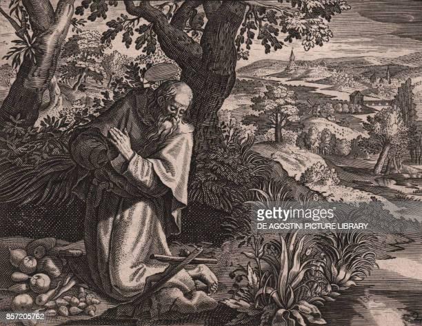 Saint Bavo of Ghent Belgian monk etching and burin by Thomas de Lieu 17x14 cm from Sylvae Sacrae hos memores Christi Paris 1606