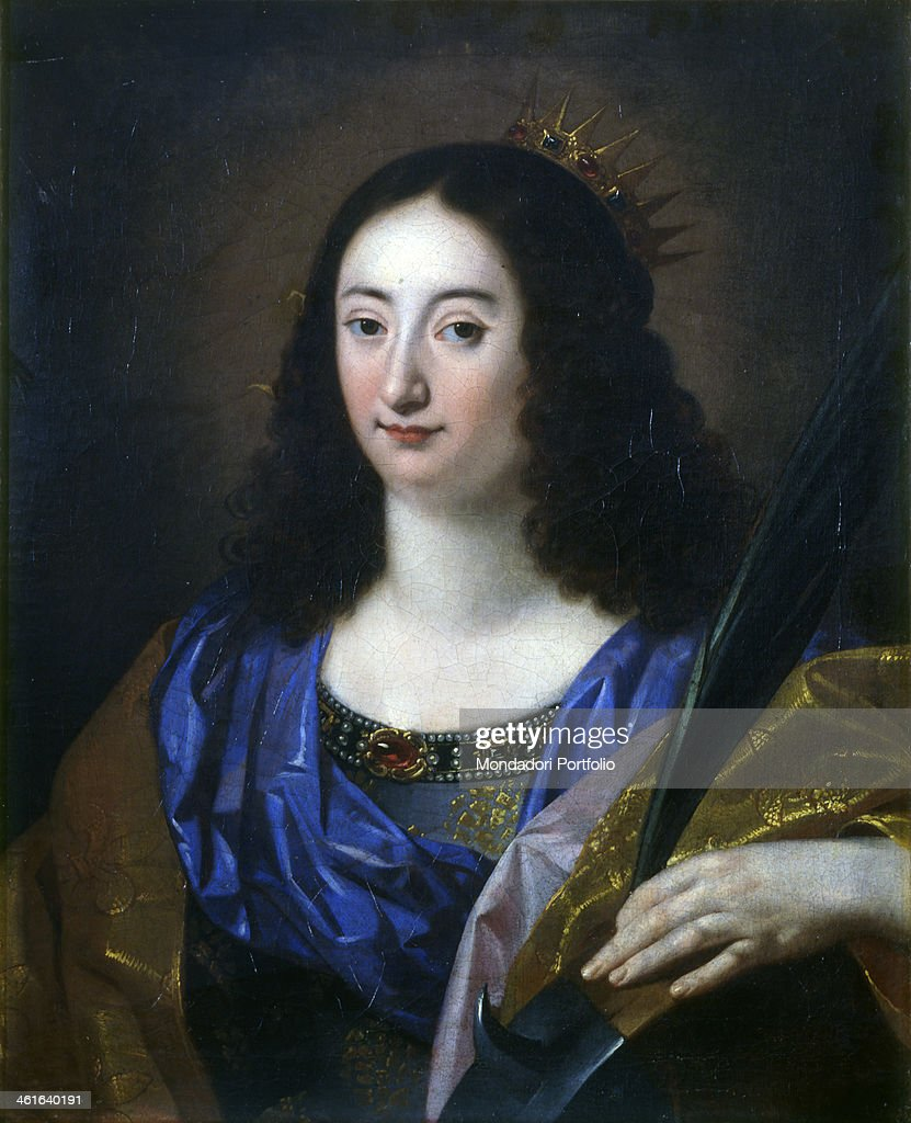 Saint Catherine of Alexandria, Workshop of Régnier Nicolas also known as Niccolò Renieri, 1650 - 1660, 17th Century, n canvas. Italy, Lombardy, Milan, Castello Sforzesco, Civic Collections of Ancient Art. Whole artwork view. The holy leaning on a spiked wheel, instrument of her martyrdom, holding the palm, symbol of martyrdom.