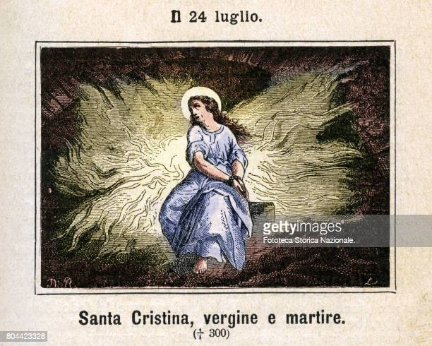 Saint Christina or Christine of Bolsena Colored engraving from Diodore Rahoult Italy 1886