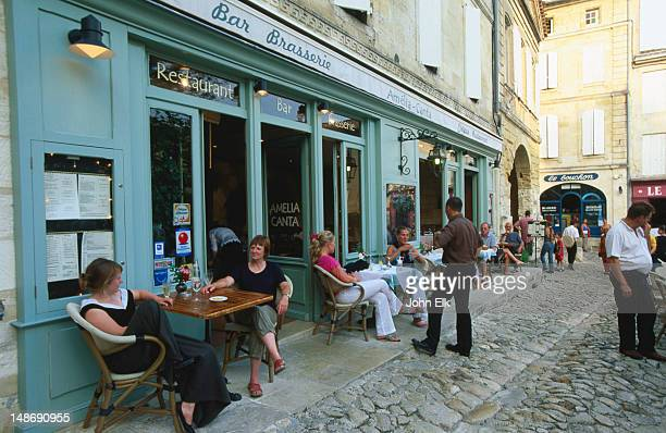 Saint Emilion, outdoor cafe in wine country.