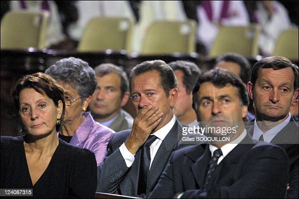 Saint Etienne Cathedral Ceremony for the victims of the AZF explosion In Toulouse France On September 272001 Yvette Benayoun and Dominique Baudis...