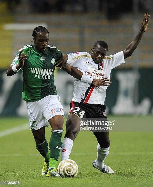 Saint Etienne's Albin Ebondo fights for the ball with Nice's Abdou Traore during the French League Cup football match SaintEtienne vs Nice on...
