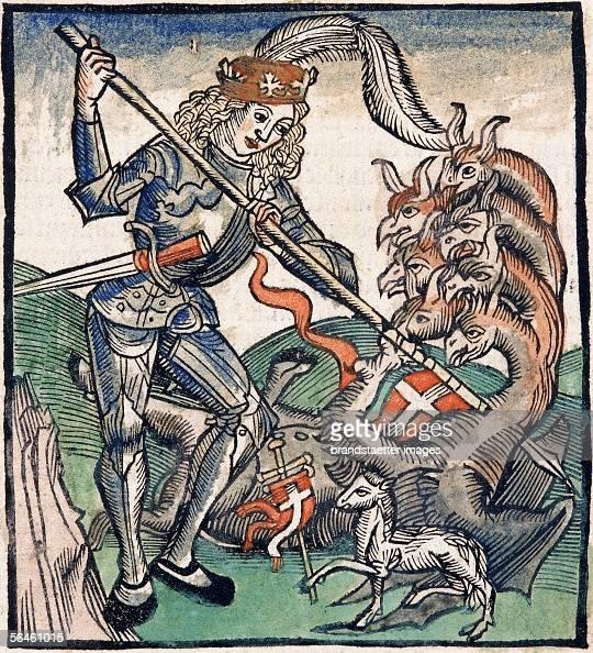 Saint fighting against a sevenheaded dragon Coloured xylograph by Sebastian Brant In Methodius Revelationes Furter Basel 1515 [Heiliger im Kampf...