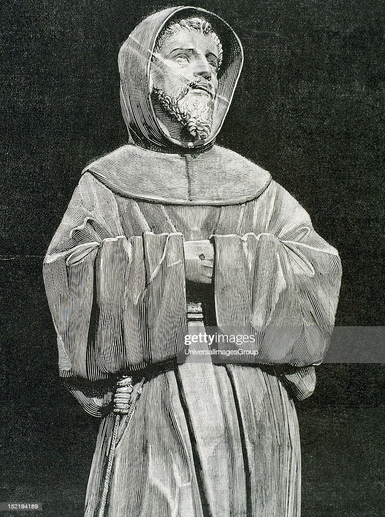 Saint Francis of Assisi (Giovanni Francesco di Bernardone (1181/1182-1226) , Catholic friar and preacher, He founded Franciscan orders of the Friars Minor, the womanÕs Order of St, Clare, and the lay Third Order of Saint Francis, Eengraving.