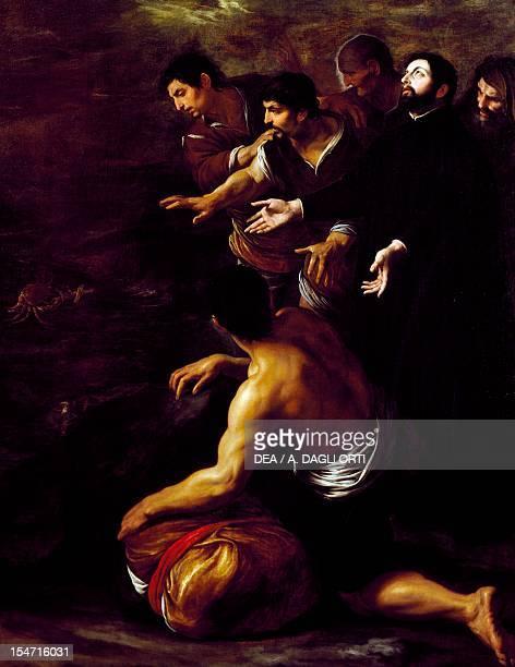 Saint Francis Xavier a miracle by Pietro Novelli oil on canvas cm 160x126 Church of Gesu' Nuovo or Trinita' Maggiore Naples Campania Italy 17th...