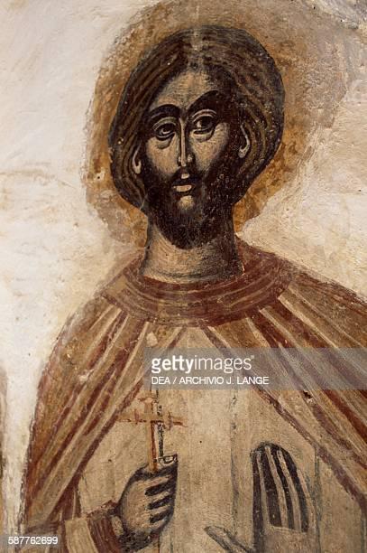 Saint fresco in the Church of Agios Michail Paleochora Aegina island Greece