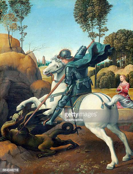 Saint George and the Dragon by Raphael circa 1506 From the National Gallery of Art Washington DC Oil on panel