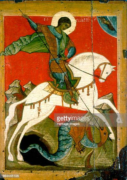 'Saint George and the Dragon' late 14th century Russian icon Novgorod School Found in the collection of the State Russian Museum St Petersburg