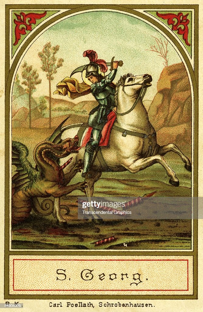 Saint George slays the dragon in a c1890 litho card from Shrobenhausen Germany