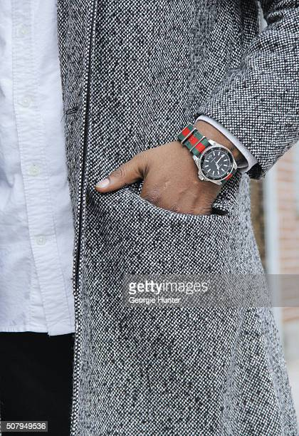 Saint Germain seen at Industria Superstudios wearing grey JCrew coat and black jeans Gucci watch and Gap white shirt during New York Fashion Week...