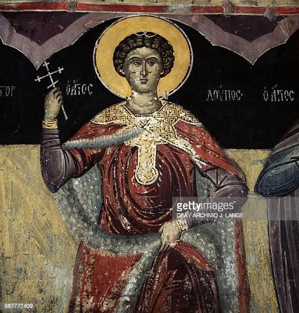 Saint holding a cross fresco in the Monastery of Timios Prodromos Serres Central Macedonia Greece 14th century